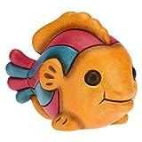 THUN - Soprammobile a Forma di Pesce Millerighe - Accessori per la Casa da Collezionare - Linea Surfing Sydney - Formato Piccolo - Ceramica - 10 x 6,3 x 7,2 h cm
