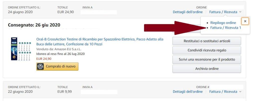 Scaricare Fattura Amazon